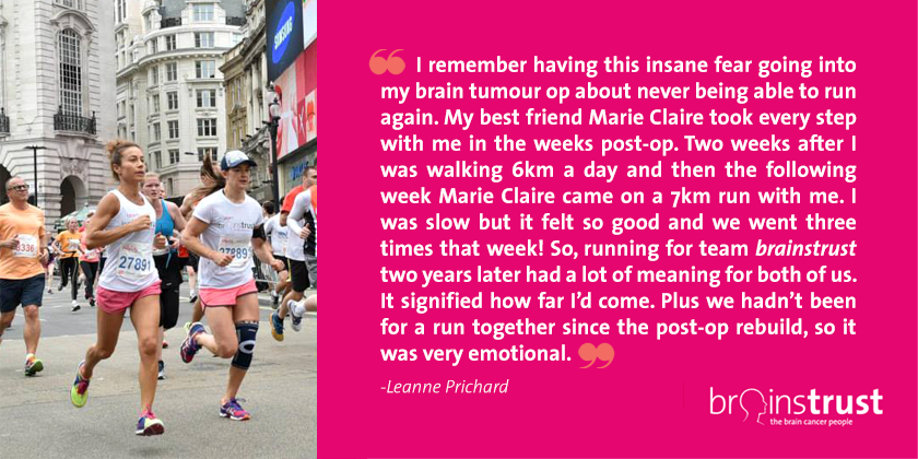 Leanne runs for brain tumour support