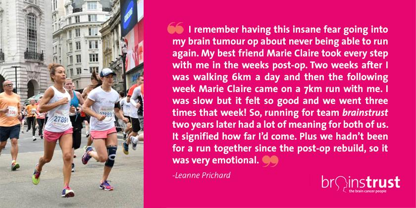 Leanne runs for brain tumour support