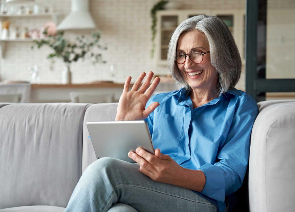 Woman on iPad - meningiomas matter meetup