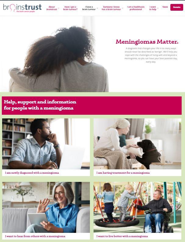 Screengrab of new meningioma site